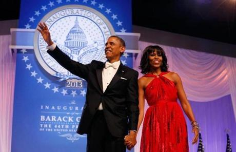 President Obama waved after his dance with Michelle Obama at the inaugural ball.