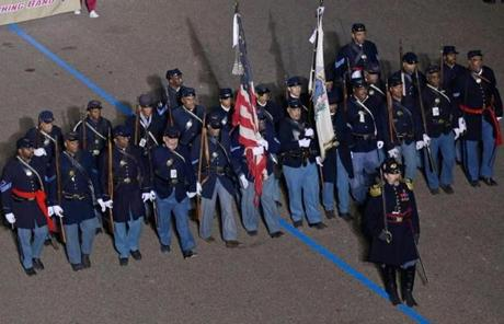 The 54th Massachusetts Volunteer Infantry Regiment, Company B, Maryland, passed the presidential box during the parade.