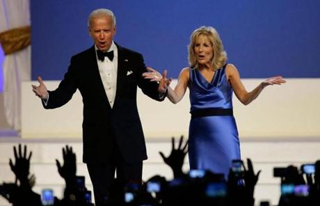 Vice President Joe Biden and Jll Biden reacted to the crowd at the inaugural ball.