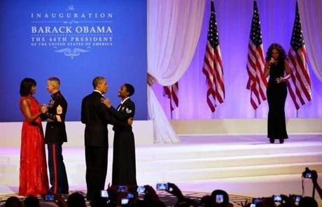 Jennifer Hudson performed while President Obama danced with Air Force Staff Sergeant Bria Nelson and Michelle Obama danced with Marine Gunnery Sergeant Timothy Easterling.
