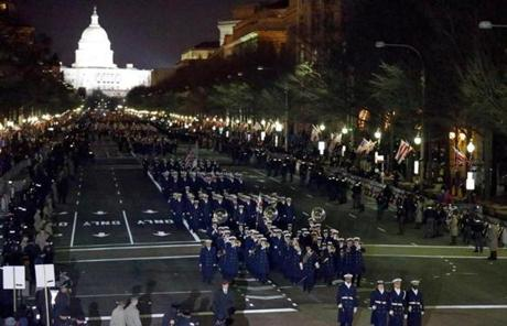 Members of the US Coast Guard marched in the inaugural parade.