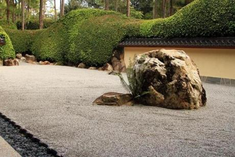 "The Karesansui Late Rock Garden (Edo Period, 17th-18th centuries). Karesamsui means ""dry landscape."" In this style of garden, rocks are arranged in a bed of raked gravel, while plants take a secondary role."
