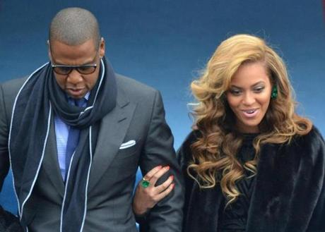 Beyoncé and Jay-Z during Inauguration ceremonies.