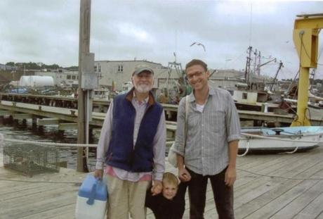 From left: Peter, Isaac, and Ben Anastas in Gloucester.