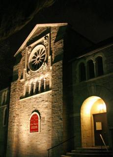The entrance to the monastery chapel on Memorial Drive.