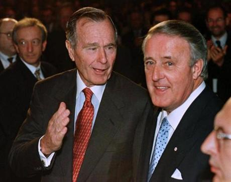 Former President George H.W. Bush and former Canadian Prime Minister Brian Mulroney in 1999.