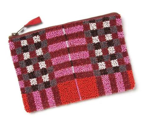 Anthropologie's Beaded Plaid Pouch, $48