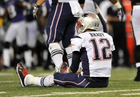 Brady looked on after failing to convert a first down in the second half of a September 2012 loss at Baltimore.
