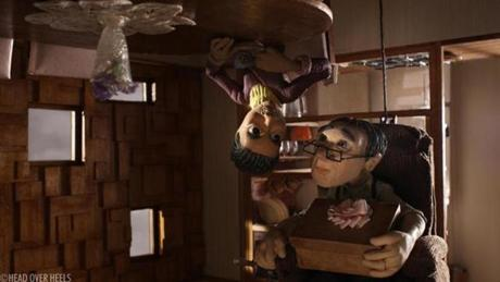 """Head Over Heels,"" a haunting handcrafted work of stop-motion from England's Timothy Reckart, about a married couple grown so far apart that they live upside down from each other in the same house."
