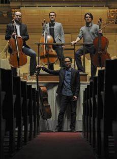 Members of the Boston Cello Quartet at the Boston Symphony Orchestra.
