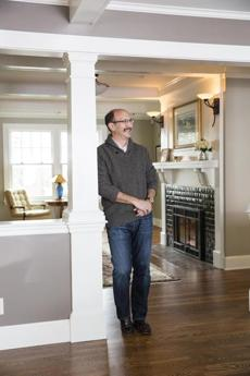 Homeowner Steven Snider in his home in Newton. For Your Home issue of Magazine 2/3/13.