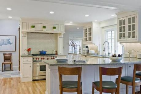 Kitchen at Wellesley home designed by David Sharff. For Your Home issue, 2/3/13.