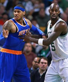 Despite some in-your-shirt defense from Kevin Garnett, Carmelo Anthony still had 28 points.