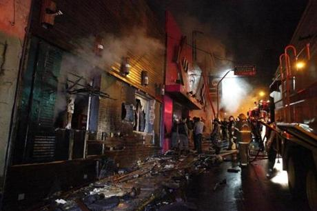 Damage was seen following a fire at a nightclub in Santa Maria, Brazil.