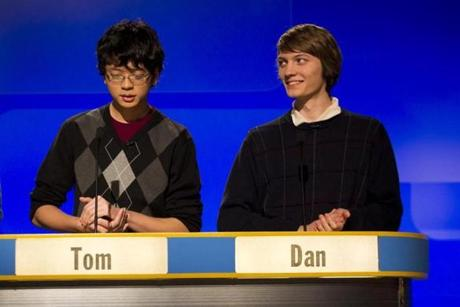 "Tom Hoang, left, 17; and Dan Erdosy, 18, both of Chelmsford High School, faced off against a team from Wellesley High School during a taping of year three of WGBH's ""High School Quiz Show"" at WGBH's Brighton Studios on Jan. 27, 2012."