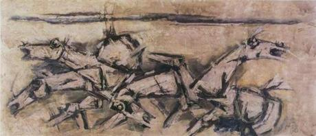 """Lighting Horses,"" (ca. 1979), 43 inches by 100 inches, oil on canvas by M.F. Husain (1915-2011)."