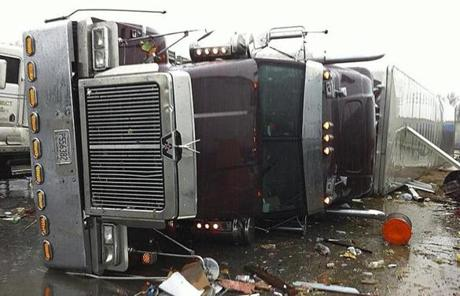 A tractor trailer was tipped over on Interstate 75  in Georgia.