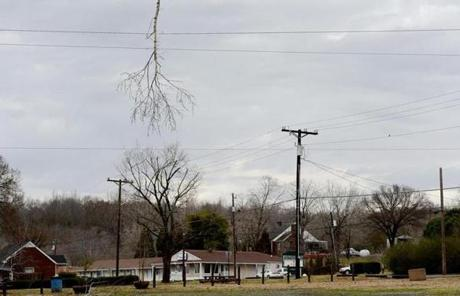 A tree branch hung from power lines in Ashland City, Tenn.