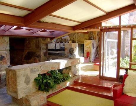 The dining alcove in the Garden Room at Frank Lloyd Wright's Taliesin West.