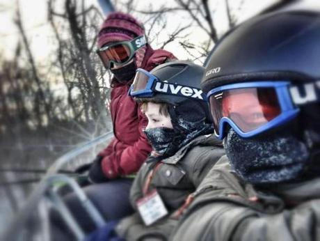 Author and her two sons on their ski excursion