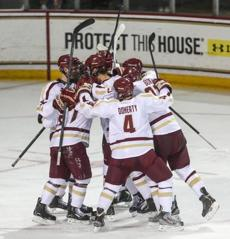 Johnny Gaudreau, who scored his 13th goal of the season in the third period, heads up ice looking to dish the puck against the Catamounts.