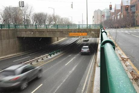 The Western Avenue Bridge where a bus crashed on Saturday.