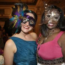 2-2-2013 Boston, Mass. Over 450 guests attended The Junior League of Boston ''Service and the City Masquerade Ball '' An Evening Benefiting Our Community Projects and Mission held at the Fairmont Copley Plaza Hotel. L. to R. are Leigh Anne Dempsey of Boston and Chayla Freeman of Boston. Globe photo by Bill Bett