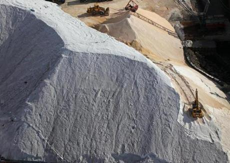 Piles of salt were offloaded recently at Eastern Minerals Inc. in Chelsea.