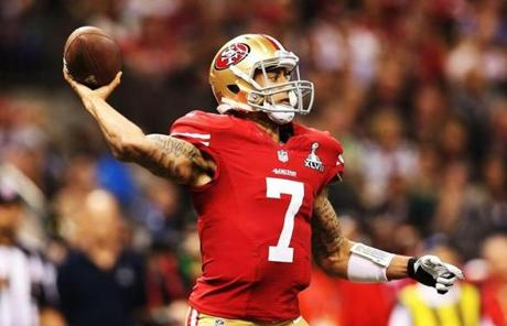 Colin Kaepernick of the 49ers threw a pass in the first half.