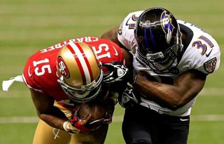 Michael Crabtree of the 49ers broke a tackle by Bernard Pollard and ran in for a touchdown in the third quarter.