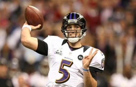 Joe Flacco had three touchdown passes in the first half.