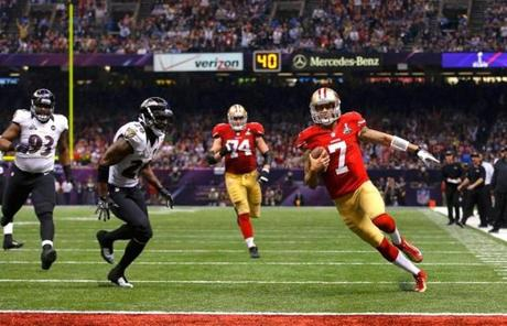 Colin Kaepernick ran for a 15-yard touchdown in the fourth quarter.
