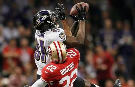 Anquan Boldin  brought down a first-down reception against Carlos Rogers in the fourth quarter.