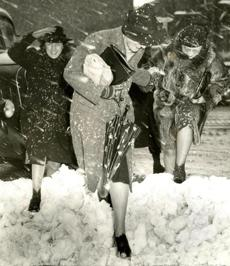 February 14, 1940: Office women who had started home at five could be seen hours later staggering through snow drifts in high heels.