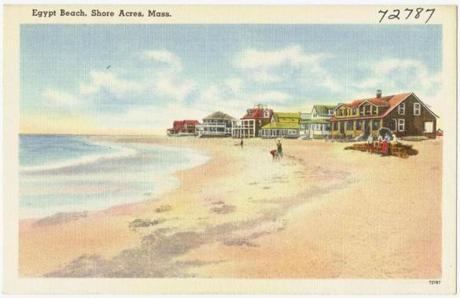 A vintage postcard of Egypt Beach in Scituate