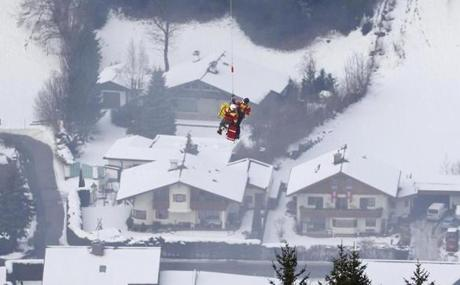 Vonn was lifted above the skiing village on a backboard attached to the helicopter.