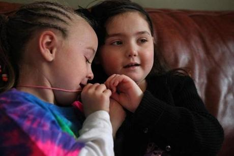 Calle Cronk, right, and her best friend, Lilah Magee, get Best Friend necklaces.