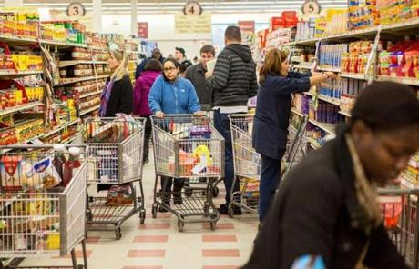 Shoppers prepared for the worst from the impending snowstorm at Market Basket in Salem.