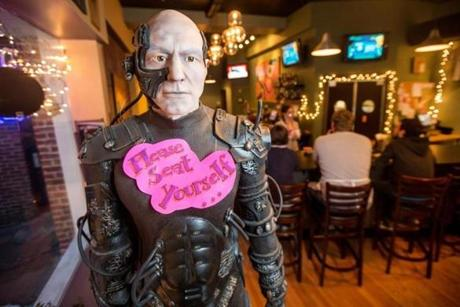 02/07/2013 SALEM, MA A life-size figure of Star Trek's (cq) Captain Picard (cq) welcomes patrons at Flying Saucer Pizza Company (cq) in Salem. (Aram Boghosian for The Boston Globe)
