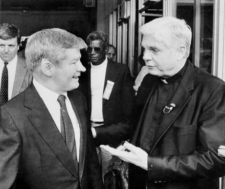 William Bulger talks with Archbishop Bernard F. Law of Boston in Rome in 1985.