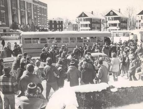 Fighting broke out outside Hyde Park High in February, 1975.