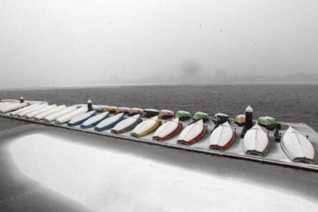 09stormmain - MIT sailing boats lined up. (David Ryan/Globe Staff)