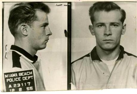 "A mug shot of James J. ""Whitey"" Bulger taken at the Miami Beach Police Dept. in 1955."