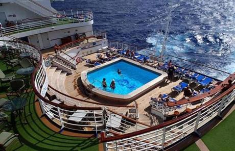 An adult-only pool on the Crown Princess' stern.