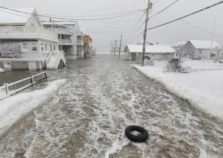 An inner tube floated on Turner Road in Scituate.