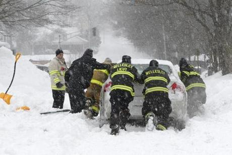 Wellesley firefighters came to the aid of a fellow firefighter stuck in the snow in Wellesley.