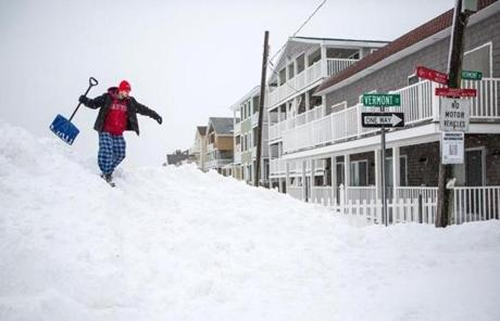 Frank Baldwin crested a hill of snow in Salisbury.