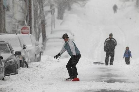 One snowboarder took to the streets in South Boston.