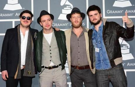 Nominees for Album of the Year, Best Rock Performance, Best Rock Song and Best Americana Album Mumford & Sons arrive on the red carpet at the Staples Center for the 55th Grammy Awards in Los Angeles, California, February 10, 2013. AFP PHOTO Frederic J. BROWNFREDERIC J. BROWN/AFP/Getty Images