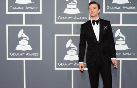 Musician/actor Justin Timberlake arrives on the red carpet at the Staples Center for the 55th Grammy Awards in Los Angeles, California, February 10, 2013. AFP PHOTO Frederic J. BROWNFREDERIC J. BROWN/AFP/Getty Images